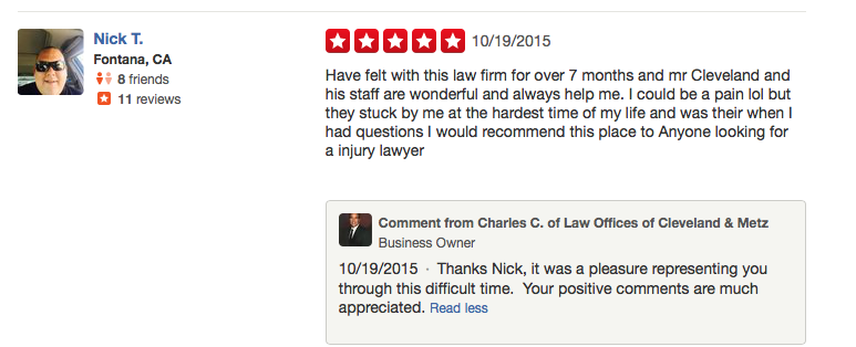 Yelp Reviews Cleveland & Metz Accident Attorneys | Law