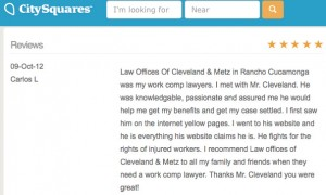 Charles Cleveland work injury lawyer Rialto California