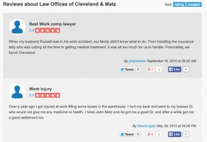 Cleveland Metz work injury lawyers Ontario California