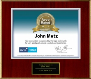 Personal Injury & Accidents John Metz AVVO rated Lawyer 2014