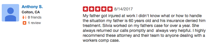 Work injury attorney review yelp1