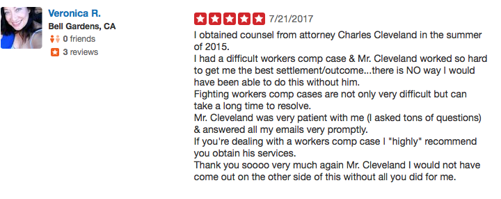 Work injury lawyer review Fontana yelp1