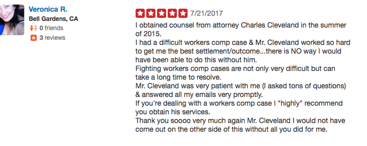 Work injury lawyer yelp review Cleveland 1