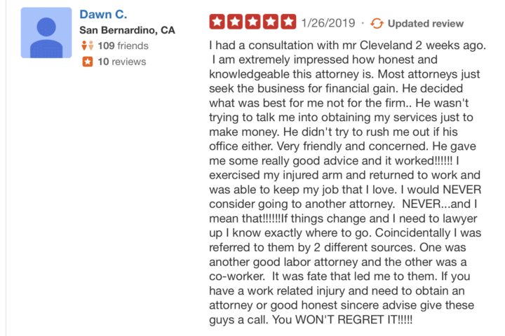 Yelp Review work injury lawyer 2019