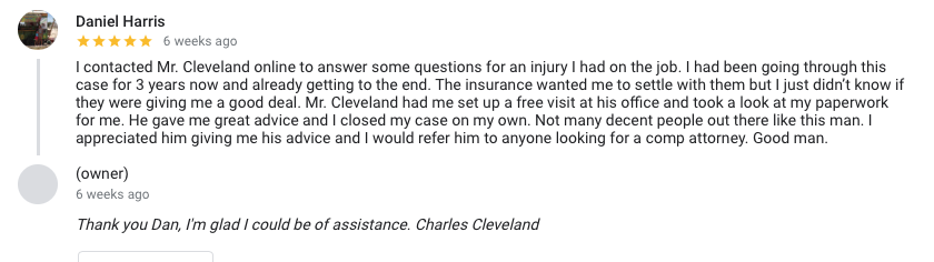Work injury lawyer Google review 2019